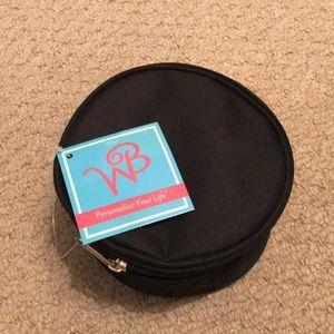 NWT Black Circular Zippered Pouch/Cosmetic Bag!